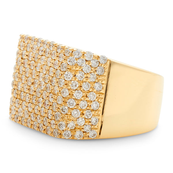 Square Honeycomb Ring 14K Yellow Gold 2.18ct