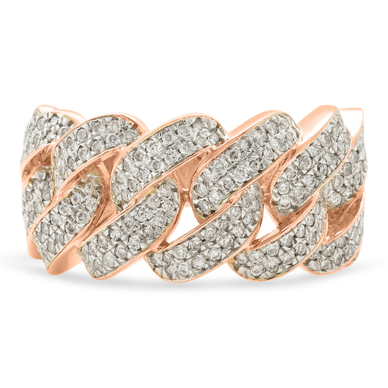 Cuban Link Ring 14K Rose Gold 1.00ct