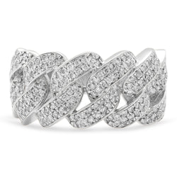 Cuban Link Ring 14K White Gold 1.00ct