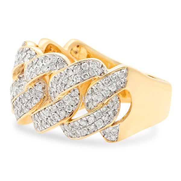 Cuban Link Ring 14K Yellow Gold 1.00ct
