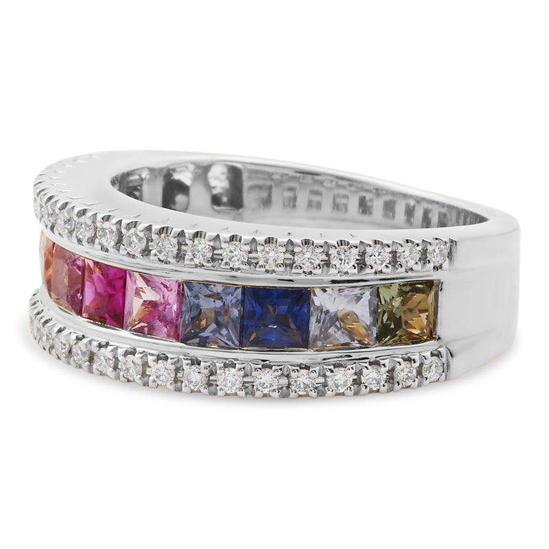 Rainbow Ring 18K White Gold S1.84ct 0.31ct