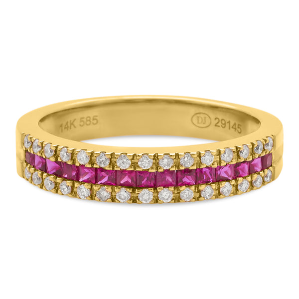 Thin Ruby Ring 14K Yellow Gold 0.19ct