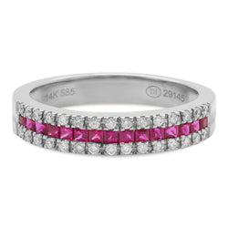 Thin Ruby Ring 14K White Gold 0.19ct