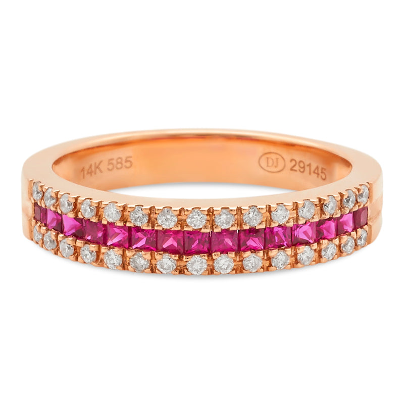 Thin Ruby Ring 14K Rose Gold 0.19ct