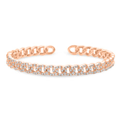 Thin Cuban Bangle 14K Rose Gold 1.65ct