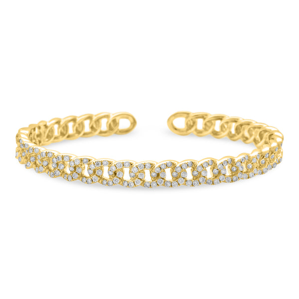 Thin Cuban Bangle 14K Yellow Gold 1.65ct