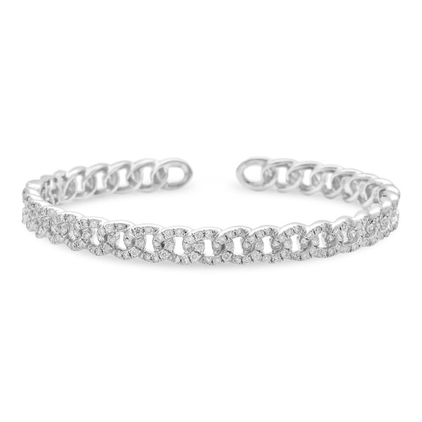 Thin Cuban Bangle 14K White Gold 1.65ct