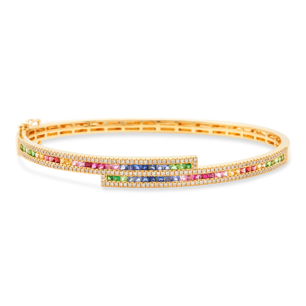 Rainbow Bangle 18K Yellow Gold S1.50ct 0.48ct