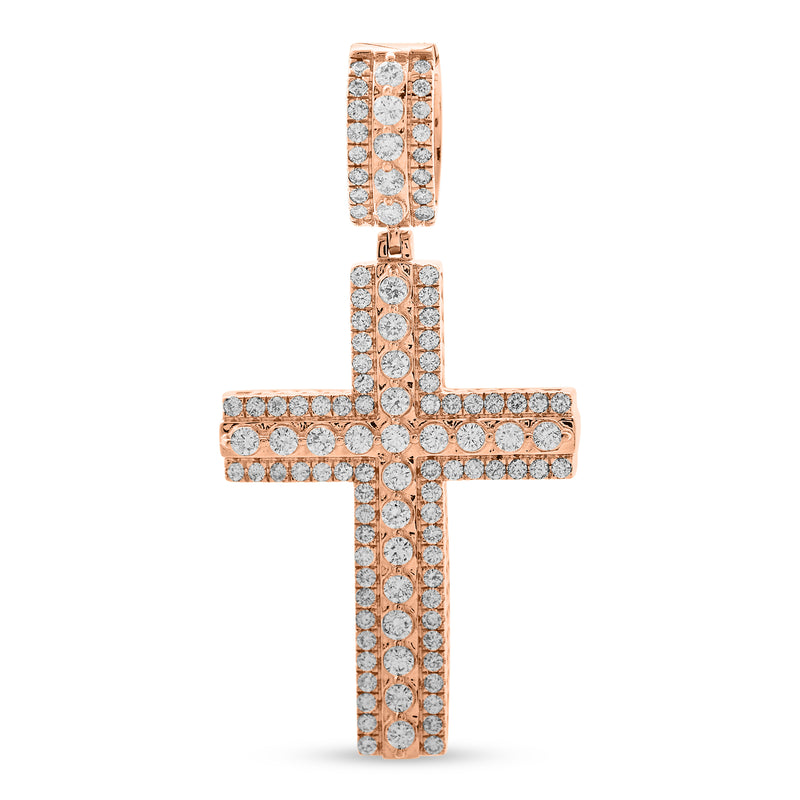 Layered Cross Pendant 14K Rose Gold 1.75ct