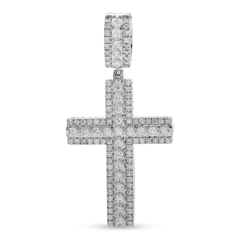 Layered Cross Pendant 14K White Gold 1.75ct