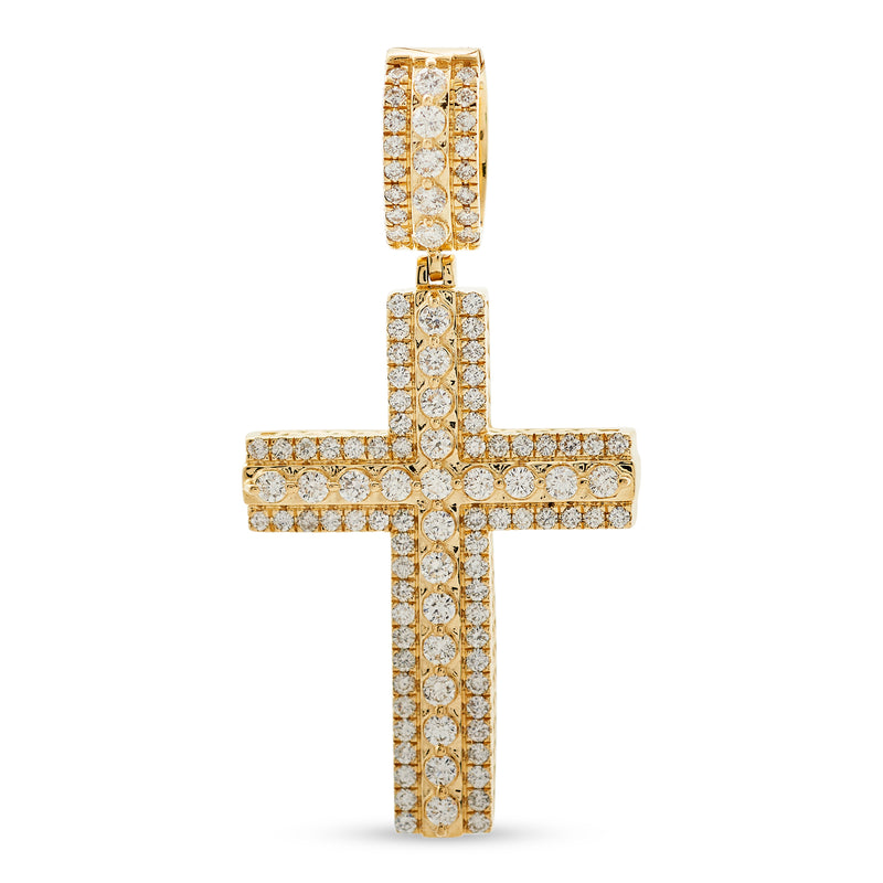 Layered Cross Pendant 14K Yellow Gold 1.75ct