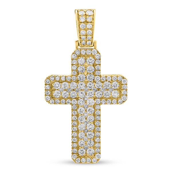 Thick Cross Pendant 14K Yellow Gold 3.10ct
