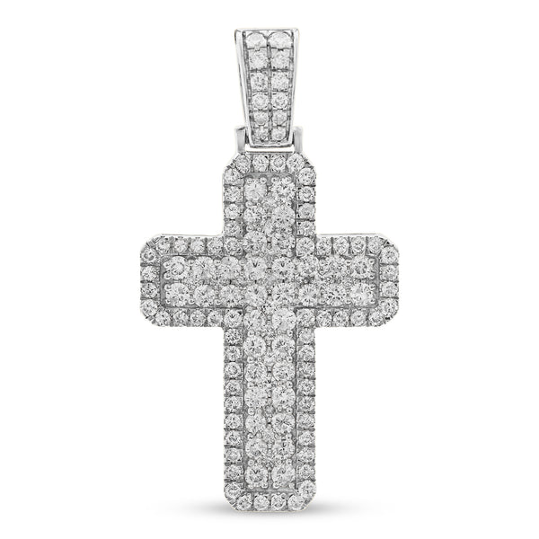Thick Cross Pendant 14K White Gold 3.10ct