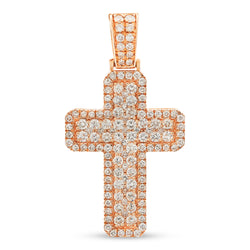 Thick Cross Pendant 14K Rose Gold 3.10ct