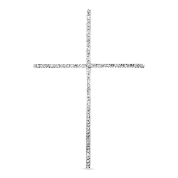 Large Thin Cross 14K White Gold 0.20ct