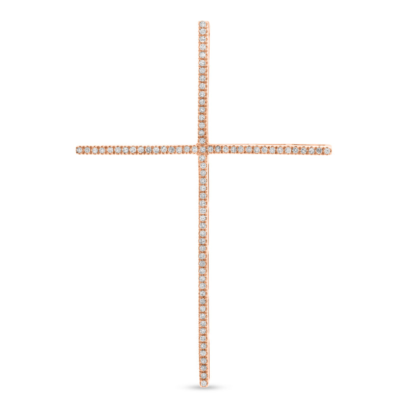 Large Thin Cross 14K Rose Gold 0.20ct