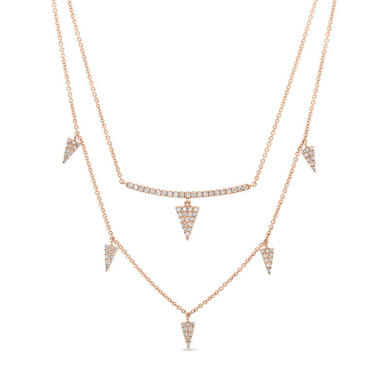 Triangle Stack Necklace 14K Rose Gold