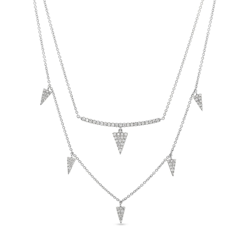 Triangle Stack Necklace 14K White Gold