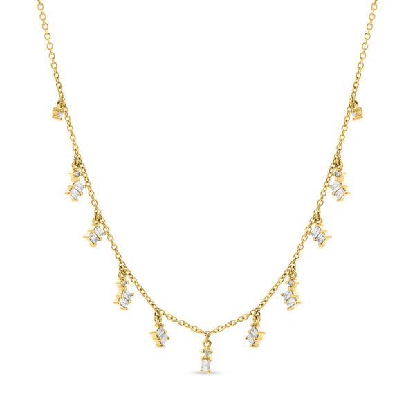 Baguette Necklace 18K Yellow Gold 9.44ct
