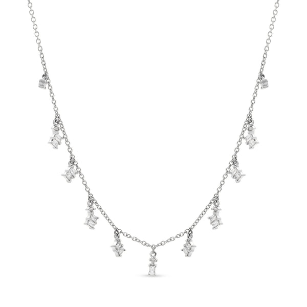 Baguette Necklace 18K White Gold 9.44ct