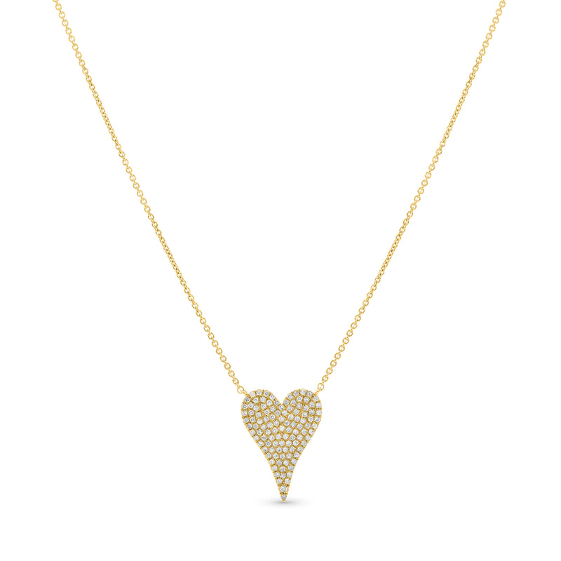 Stretched Mini Heart Necklace 14K Yellow Gold 0.34ct