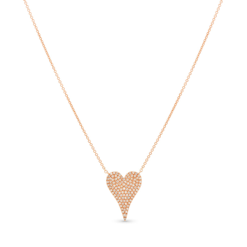 Stretched Mini Heart Necklace 14K Rose Gold 0.34ct