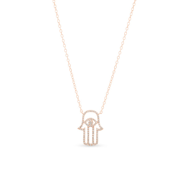 Hamsa Necklace 14K Rose Gold 0.15ct