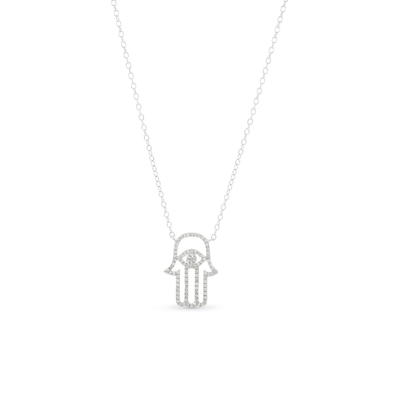 Hamsa Necklace 14K White Gold 0.15ct