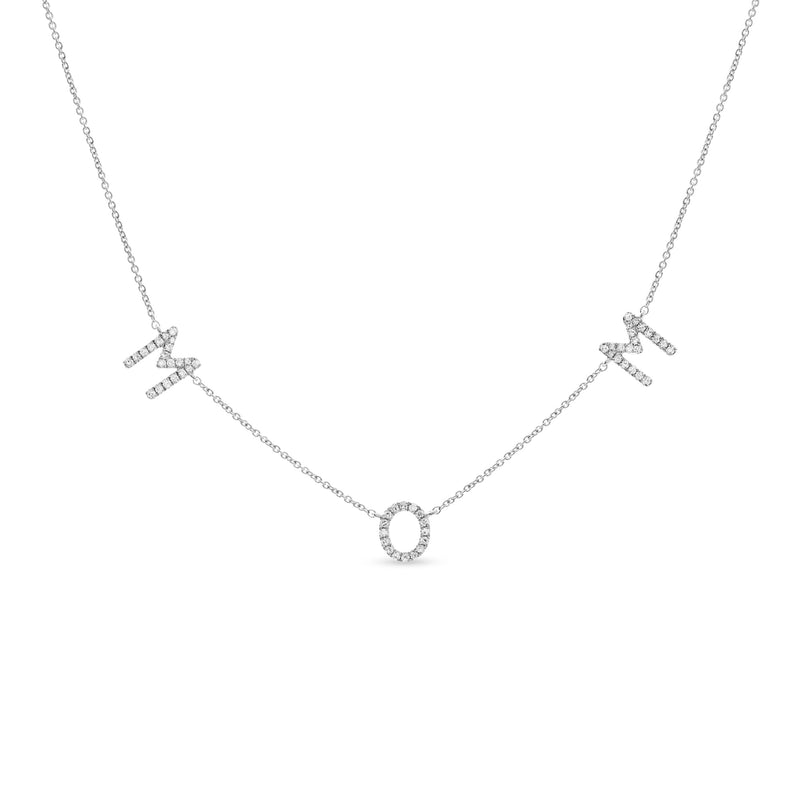 Mom Necklace 14K White Gold 0.23ct