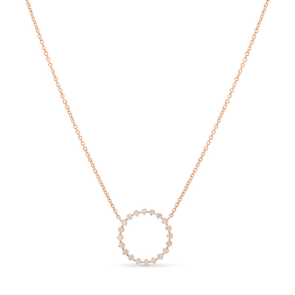 Halo Necklace 14K Rose Gold 0.12ct