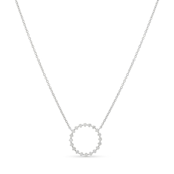 Halo Necklace 14K White Gold 0.12ct