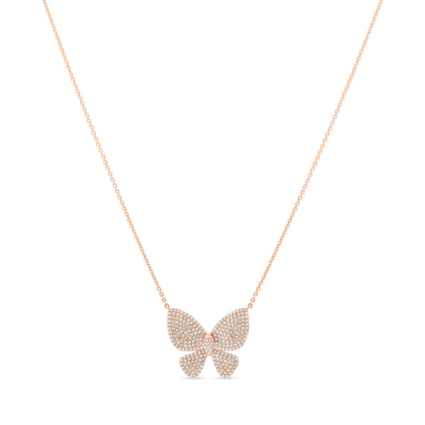 Large Butterfly Necklace 14K Rose Gold 0.60ct
