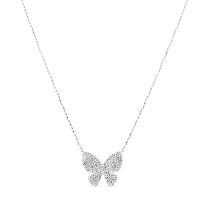 Large Butterfly Necklace 14K White Gold 0.60ct