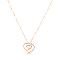 Two Hearts One Necklace 14K Rose Gold 0.08ct