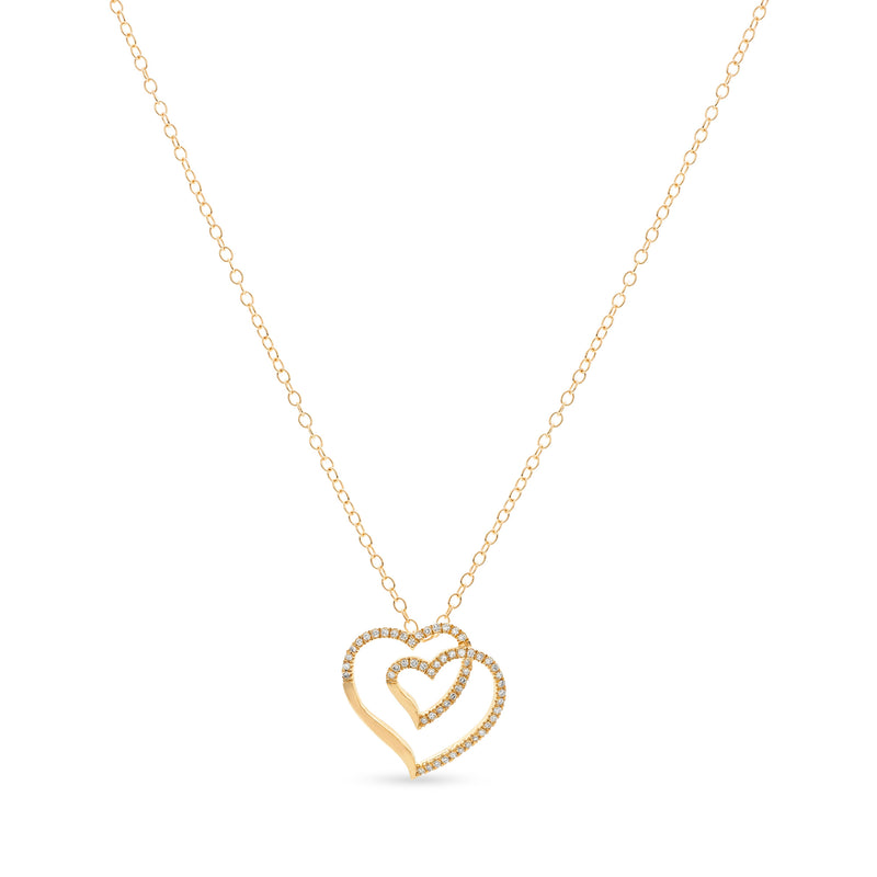 Two Hearts One Necklace 14K Yellow Gold 0.08ct