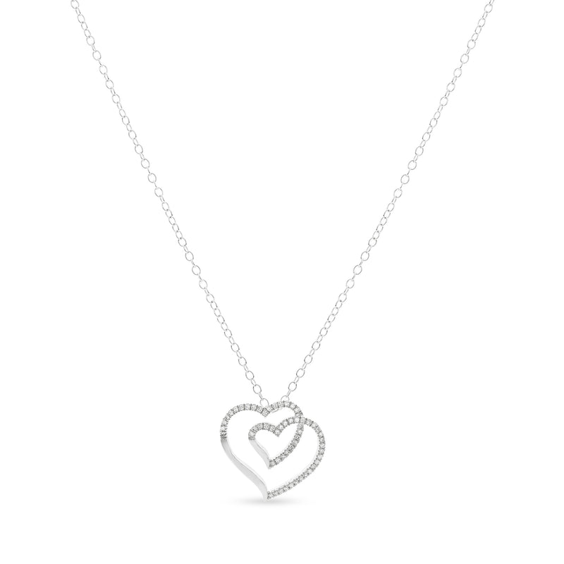 Two Hearts One Necklace 14K White Gold 0.08ct