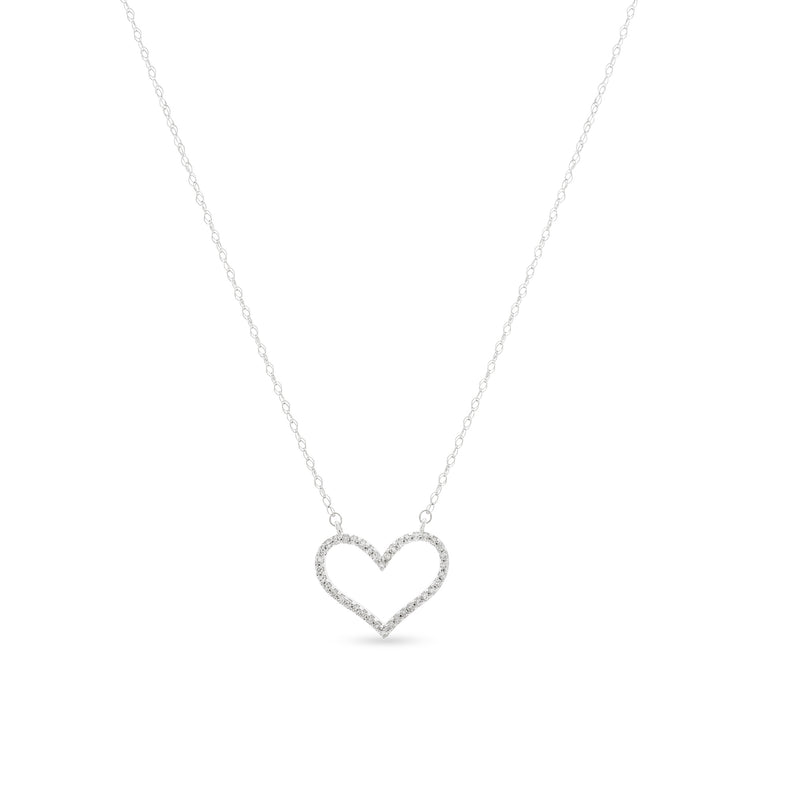 Bubbly Heart Necklace 14K White Gold 0.12ct