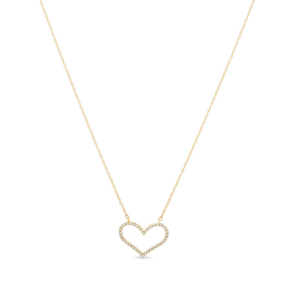 Bubbly Heart Necklace 14K Yellow Gold 0.12ct