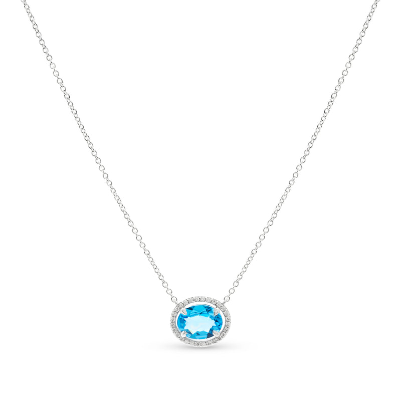 Ocean Blue Necklace 18K White Gold T1.75ct 0.12Cct