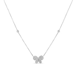 Mini Butterfly Necklace 14K White Gold 0.34ct