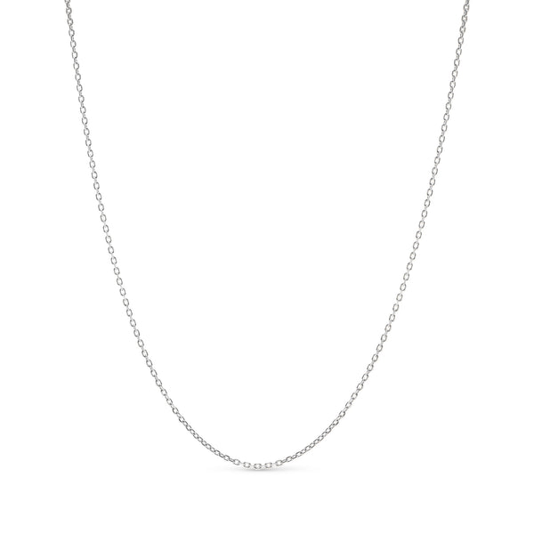 Thin Rolo Link Chain 14K White Gold 1.0mm