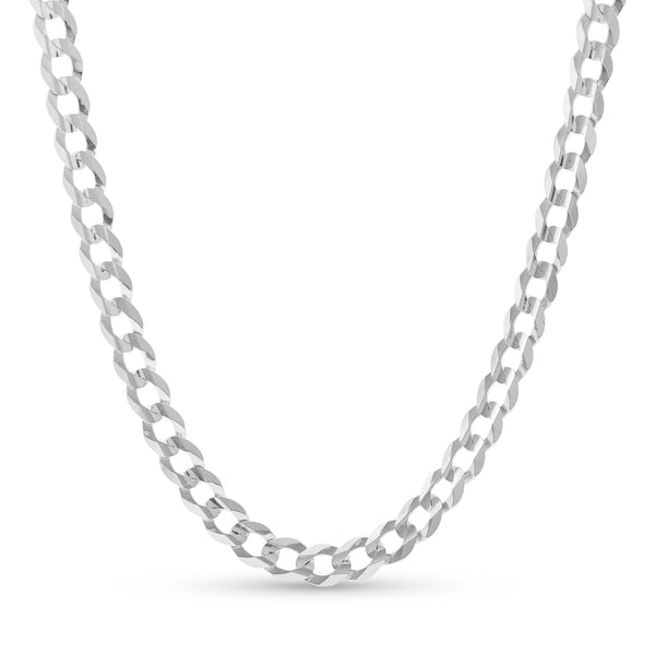 Flat Cuban Link Chain 14K White Gold 8.0mm