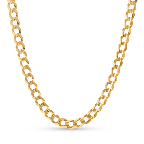Flat Cuban Link Chain 14K Yellow Gold 8.0mm