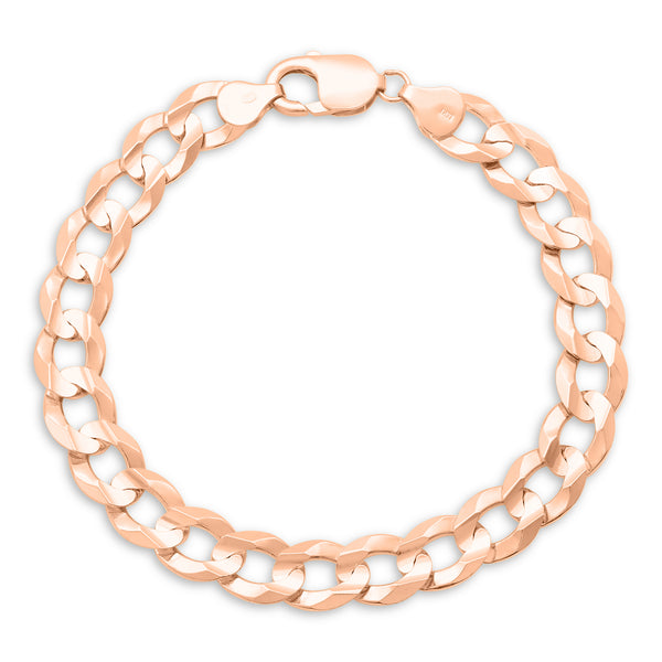 Flat Cuban Link Bracelet 14K Rose Gold 9.5mm