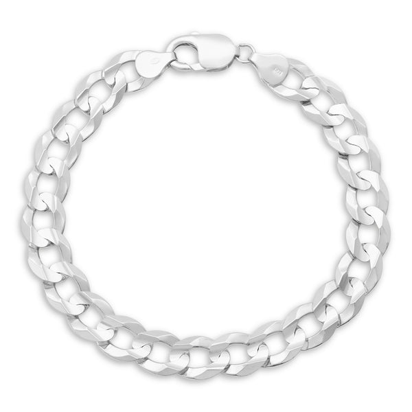 Flat Cuban Link Bracelet 14K White Gold 9.5mm