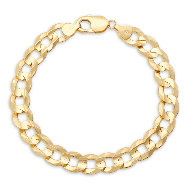 Flat Cuban Link Bracelet 14K Yellow Gold 9.5mm