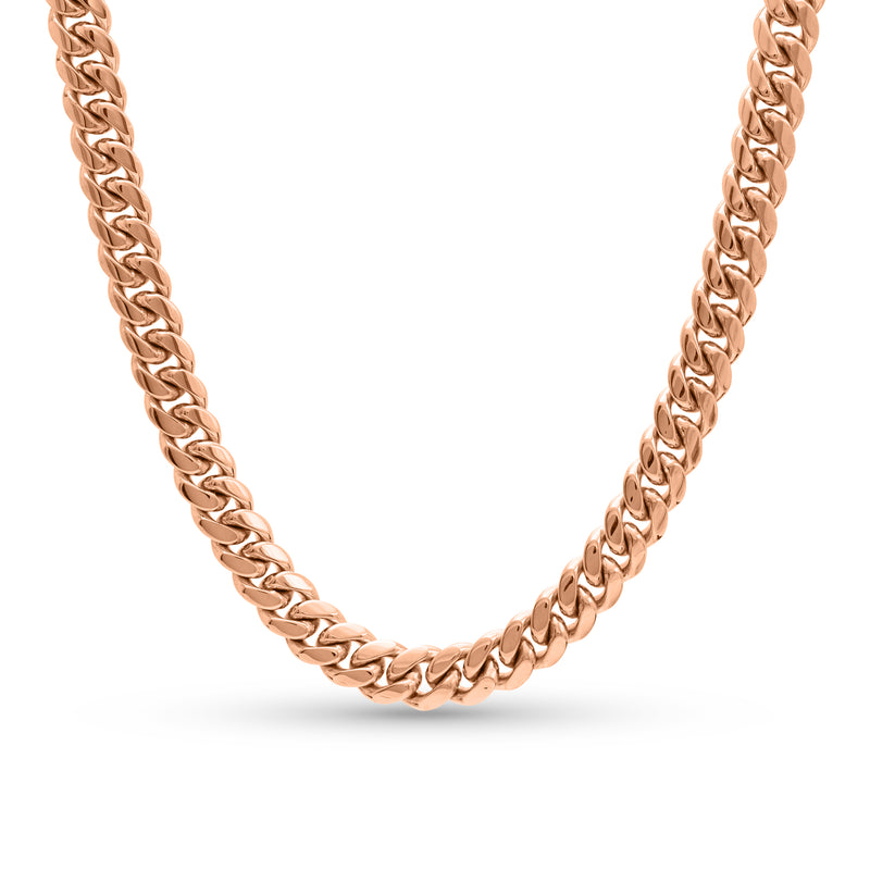 Cuban Link Chain 14K Rose Gold 10mm
