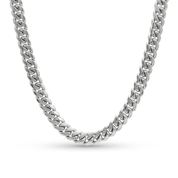 Cuban Link Chain 10K/14K White Gold 10mm
