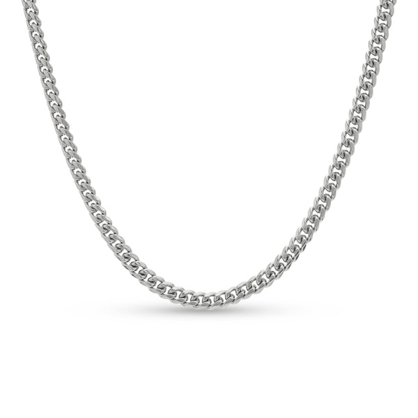 Cuban Link Chain 10K/14K White Gold 6mm