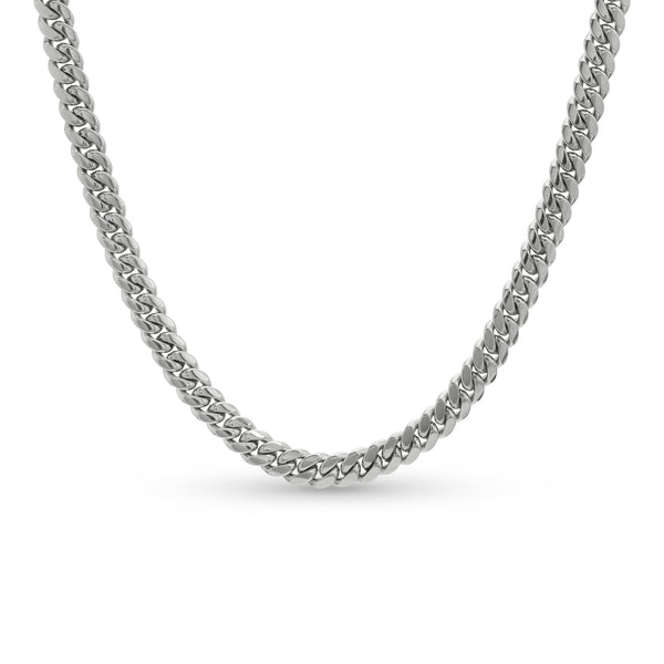 Cuban Link Chain 14K White Gold 8mm